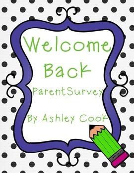 Welcome back parent survey