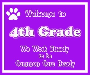 Welcome to 4th Grade (Common Core) Purple and White