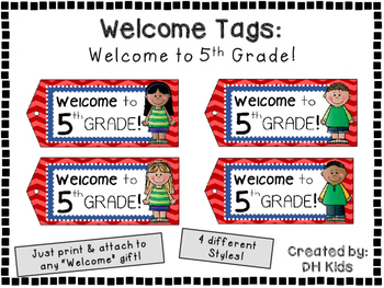 Welcome to 5th Grade - Welcome Tags  - Fifth Grade Treat Bag Tags