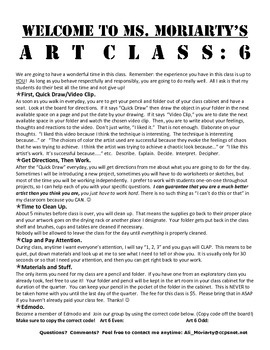 Welcome to Art 6: 6th grade First Day handout
