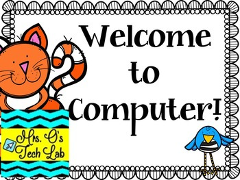 Welcome to Computer Cat and Bird Theme Poster
