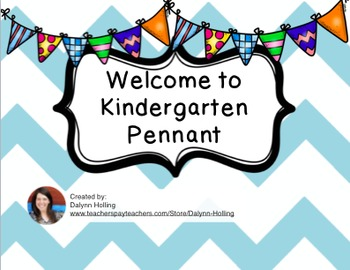 Welcome to Kindergarten Pennant- Teal Chevron