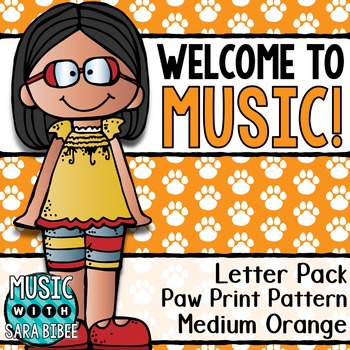 Welcome to Music! Display Letters- Paw Print Pattern- Medi