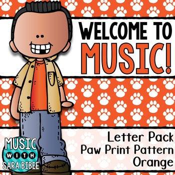 Welcome to Music! Display Letters- Paw Print Pattern- Orange