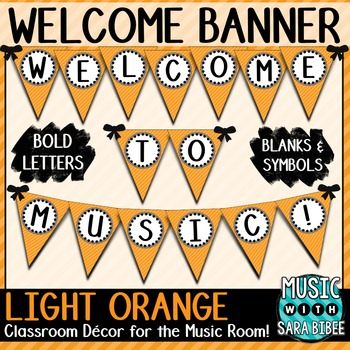 Welcome to Music! Light Orange Diagonals Pennant Banner