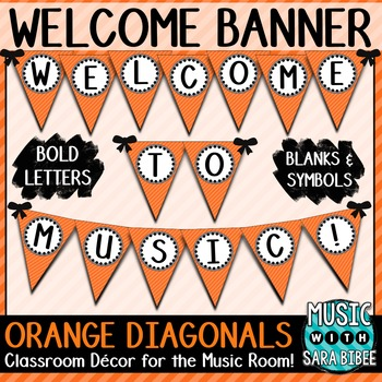 Welcome to Music! Orange Diagonals Pennant Banner