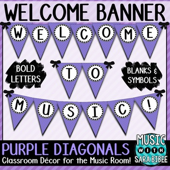 Welcome to Music! Purple Diagonals Pennant Banner
