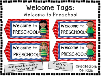 Welcome to Preschool - Welcome Tags  - Treat Bag Tags