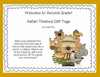 Welcome to School -Jungle Themed Gift Tags for Second Grade