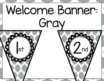 Welcome to _________! Banner (Gray Quatrefoil)