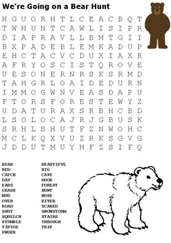 We're Going on a Bear Hunt Word Search