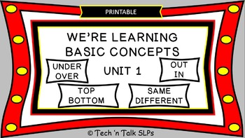 We're Learning Basic Concepts:  Unit 1  Printable