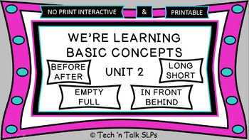 We're Learning Basic Concepts:  Unit 2 Interactive & Printables