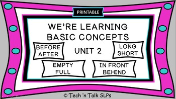 We're Learning Basic Concepts:  Unit 2  Printable