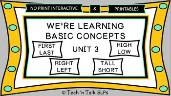 We're Learning Basic Concepts:  Unit 3 Interactive & Printables