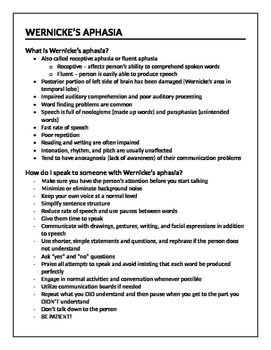 Wernicke's Aphasia Handout