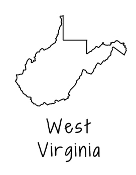 West Virginia Map Coloring Page Activity - Lots of Room fo