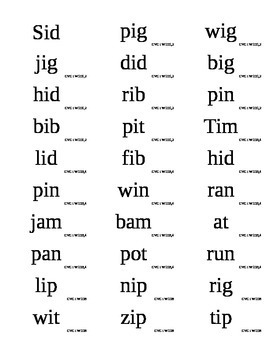West Virginia Reading First Phonics Flashcards Short I