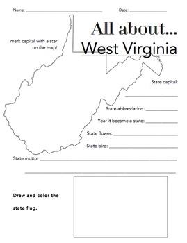 West Virginia State Facts Worksheet: Elementary Version