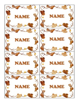 Western Name tags- Boots Border