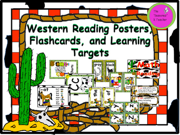 Western Reading Posters, Flashcards, and Learning Targets
