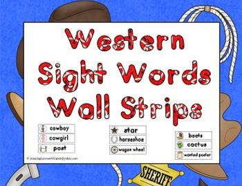 Western Sight Words Wall Strips
