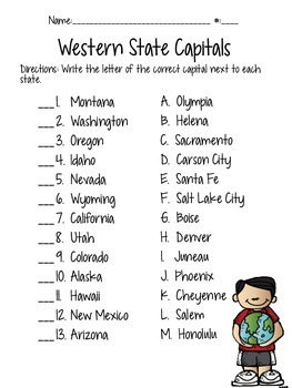 Western States' Capitals Quiz