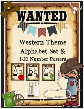 Western Theme Alphabet Set and 1-20 Number Cards Country W