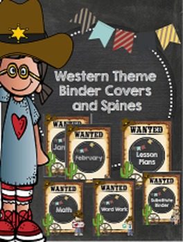Western Theme Binder Covers and Spines Cowboy and Cowgirl