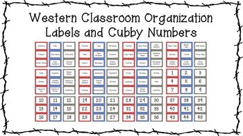 Western Theme Classroom Organization Labels and Cubby Numbers