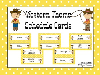 Western Theme Schedule Cards