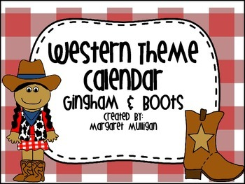 Western Themed Calendar - Gingham and Boots