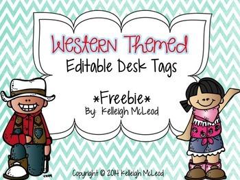 Western Themed Desk Tags (Editable)
