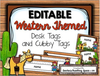 Western Themed Desk Tags and Cubby Tags --- EDITABLE Cowbo