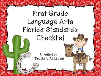 Western Themed Language Arts Florida Standards Checklist f
