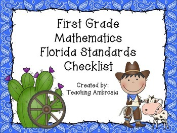 Western Themed Mathematics Florida Standards Checklist for