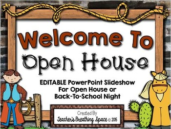 Western Themed Open House PowerPoint --- EDITABLE PowerPoi
