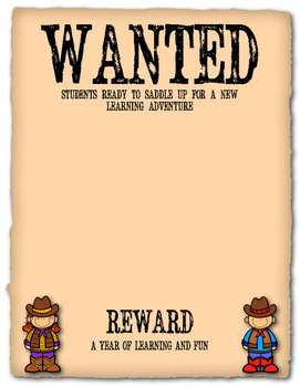 Western Themed Wanted Sign