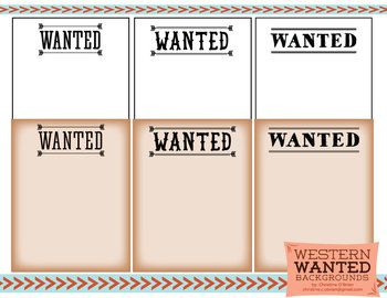 Western Wanted Poster Digital Backgrounds