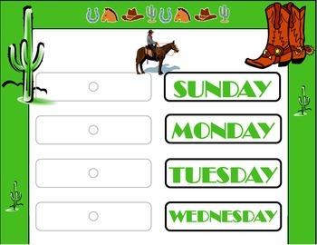 Western Weekday Chart! Wild West Theme! Wild Western Bulle