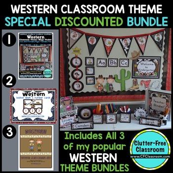 WESTERN / COWBOY THEME Decor - 3 EDITABLE Clutter-Free Cla