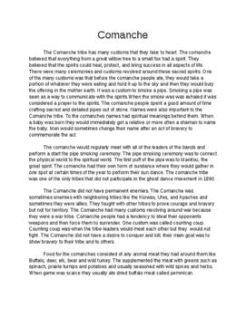 Westward Expansion- Comanche- Notes Page- Customs, behavio