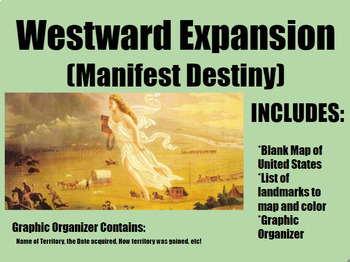 Westward Expansion (Manifest Destiny) Map/Graphic Organize