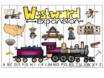 Westward Expansion themed Alphabet Sequence Puzzle prescho