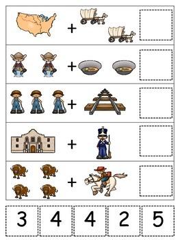 Westward Expansion themed Math Addition.  Preschool learni