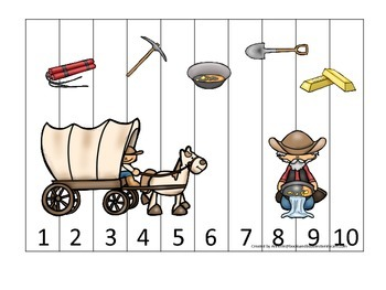 Westward Expansion themed Number Puzzle 1-10 preschool lea