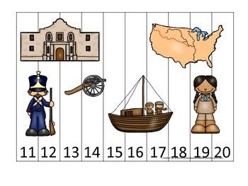 Westward Expansion themed Number Puzzle 11-20 preschool le