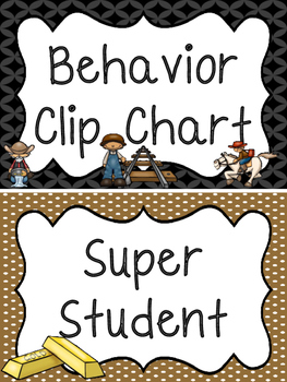 Westward Expansion themed Printable Behavior Clip Chart. B
