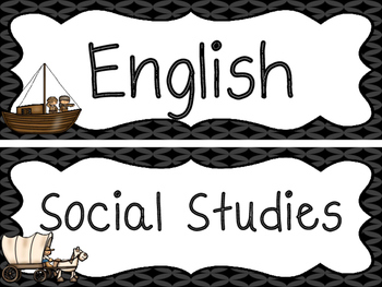 Westward Expansion themed Printable Classroom Subject Sign