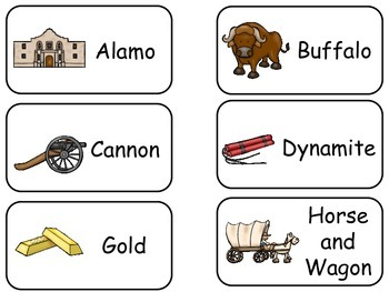 Westward Expansion themed printable Picture Word Flash Car